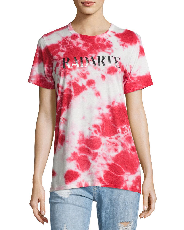 Lyst rodarte radarte logo tie dye t shirt in red for How to dye a shirt red