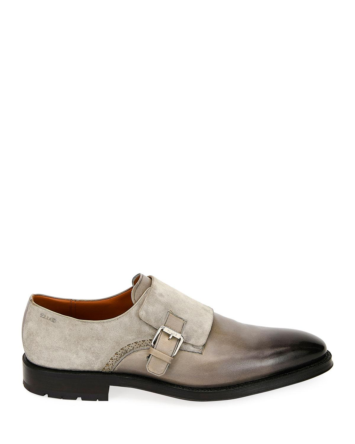 363fce1af0c Lyst - Bally Men s Balbin Leather Injected-sole Monk Strap Shoes in Gray  for Men