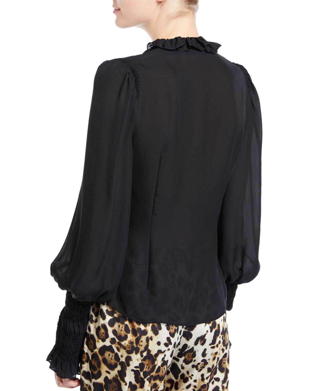 2a5ac4d88df4f Lyst - Alexis Scyler Ruffle Long-sleeve Button-down Top in Black