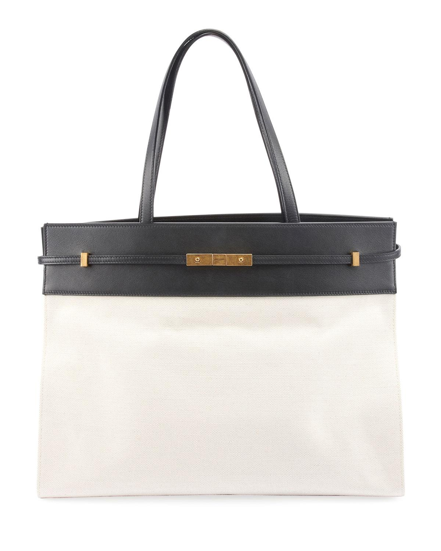 Saint Laurent. Women s White Manhattan Medium Two-tone Canvas leather Tote  Bag bc2380a9d7