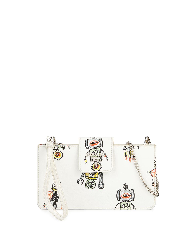 ce3b6b88f3c Lyst - Prada Saffiano Robot Clutch Bag W chain Strap in White