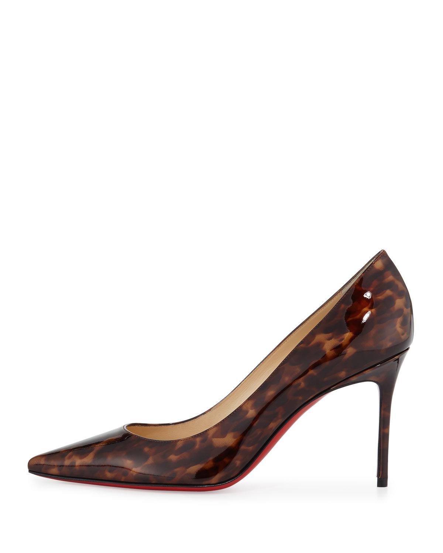 new arrival e10f0 e4957 Women's Brown Decollete Leopard-Print Patent-Leather Pumps