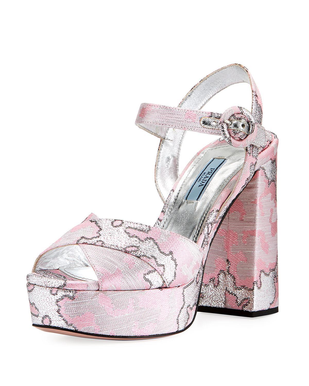 Prada Brocade platform sandals lDLWajf