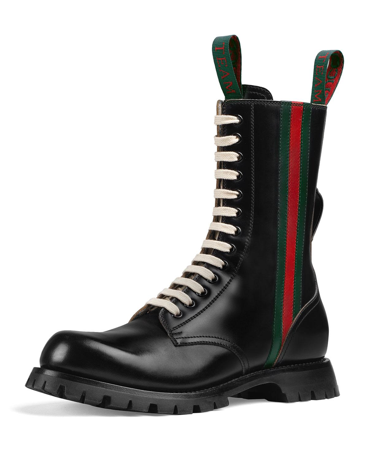 a2ce82b7065 Lyst - Gucci Leather Arley Web Boots in Black for Men