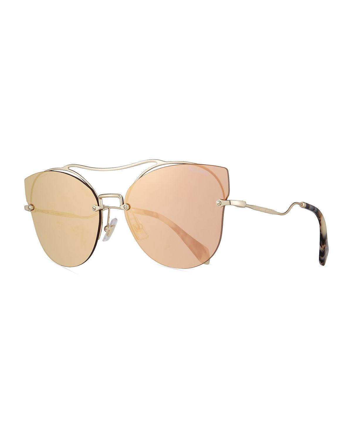b3db9e8431c Lyst - Miu Miu Scenique Rimless Mirrored Brow-bar Sunglasses in Yellow