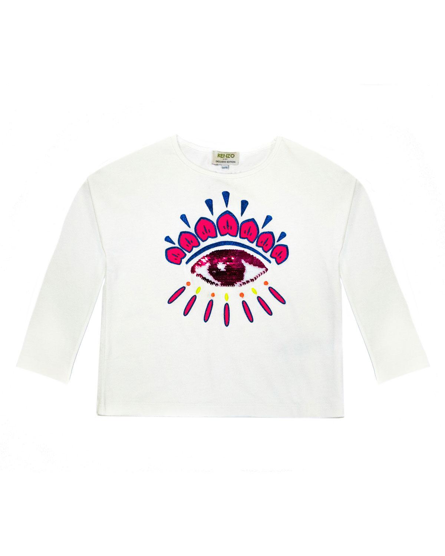 c1df52c2d KENZO - White Long-sleeve Flip Sequin Eye T-shirt - Lyst. View fullscreen