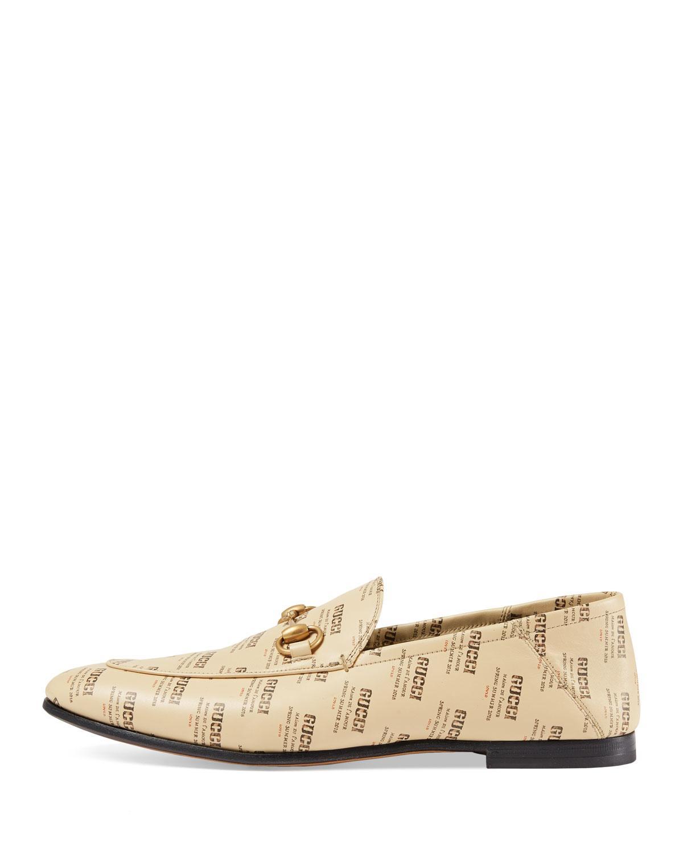 e8d9e9241e2 Lyst - Gucci Leather Invite Print Loafer in Natural for Men - Save 56%