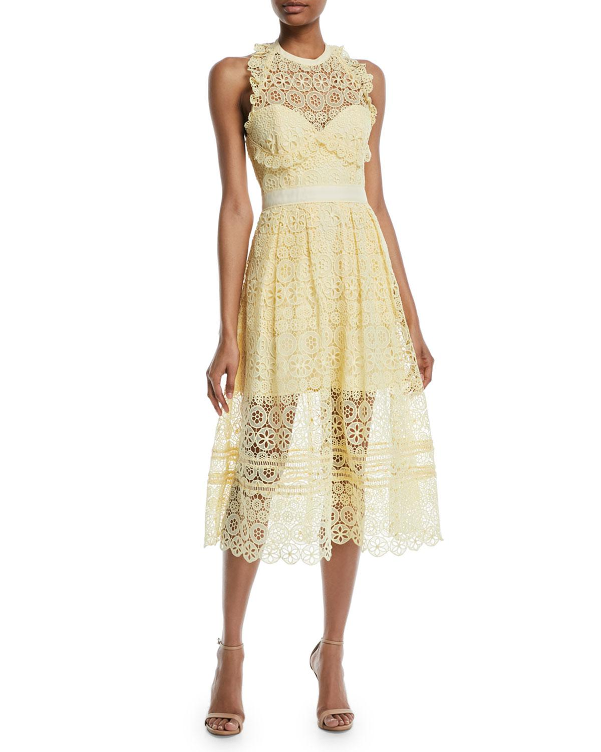 cd7f7938a61b Lyst - Self-Portrait Floral Lace Halter Midi Cocktail Dress in Yellow