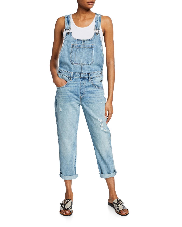 f37e0d5cb7 Lyst - Hudson Jeans Jessi Straight-leg Boyfriend Distressed Overalls ...