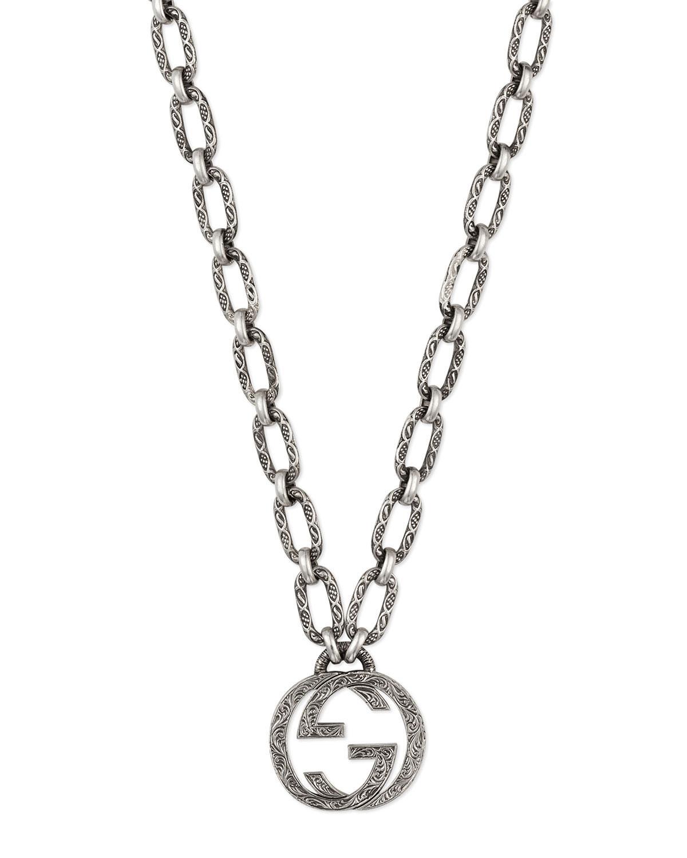 4b4618bee12 Gucci Men s Interlocking G Pendant Necklace in Metallic for Men - Lyst