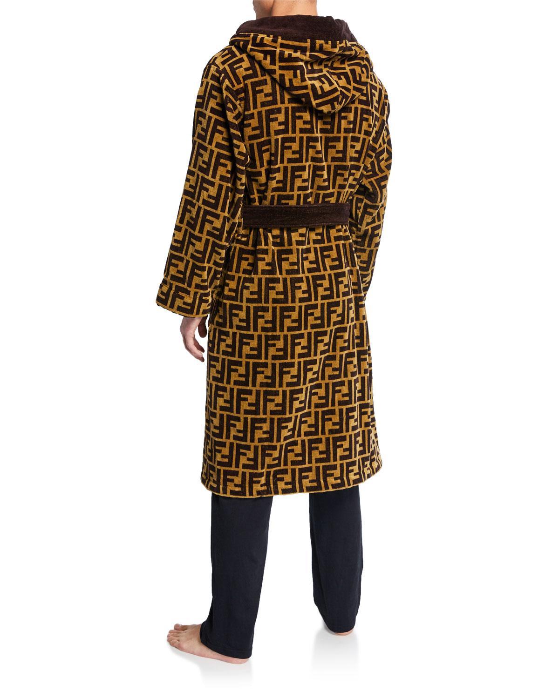 b548fb1f60a Fendi Men s Logo Jacquard Hooded Robe in Brown for Men - Save 11% - Lyst