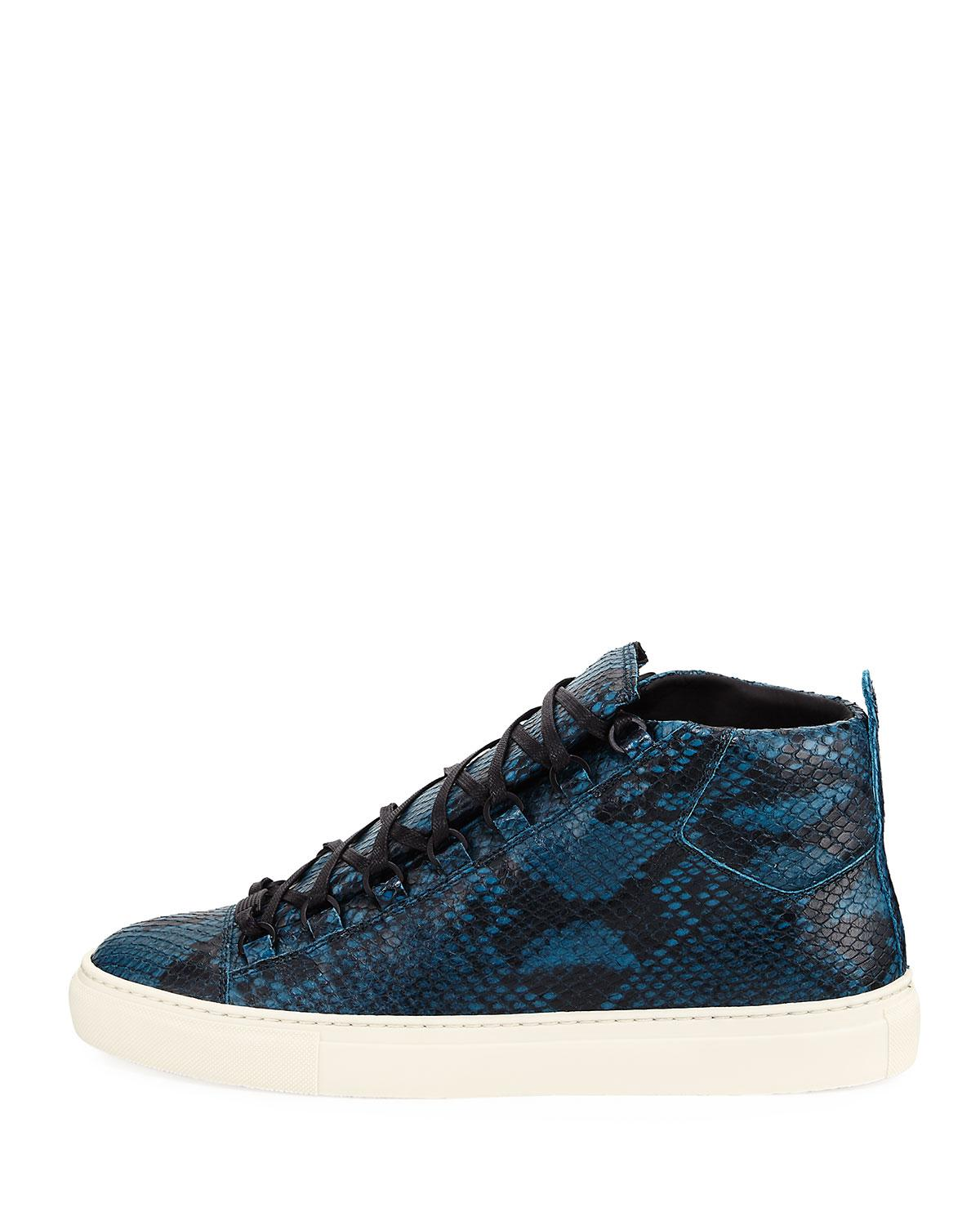 684b1052b525 Lyst - Balenciaga Men s Arena Python-embossed Leather High-top ...