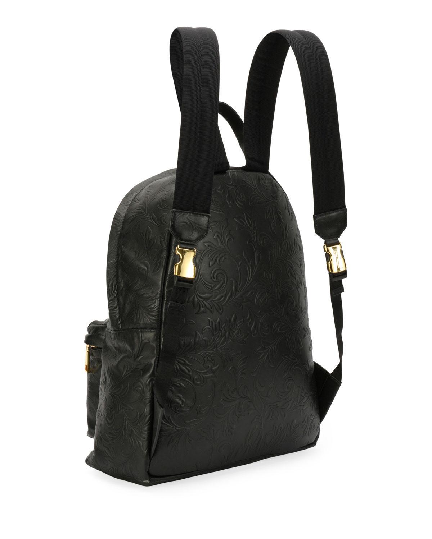 Lyst - Versace Men s Embossed Leather Medusa Backpack in Black for Men f25ea63144