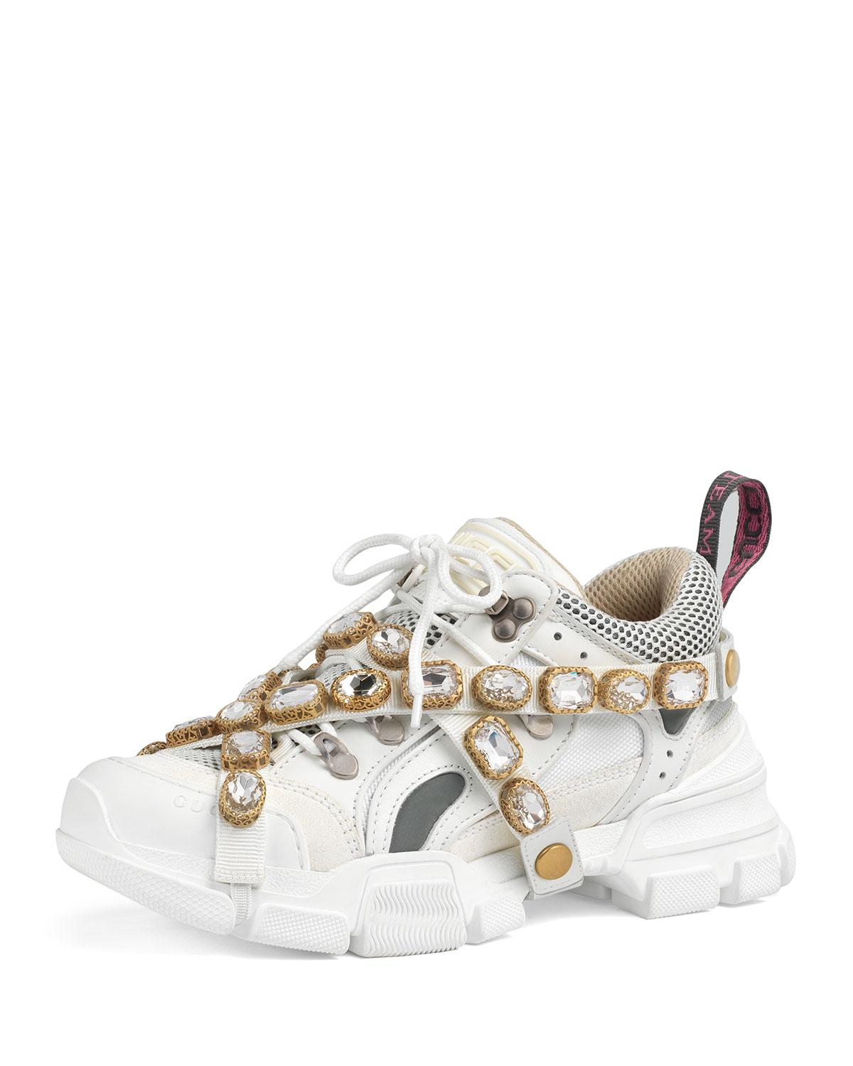 55a3743d2cd Lyst - Gucci White Crystal Flashtrek Sneakers in White - Save 40%