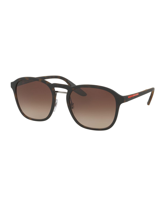 2fd85ed5e2b3 Lyst - Prada Linea Rossa Men s Square Mirrored Sunglasses in Brown ...
