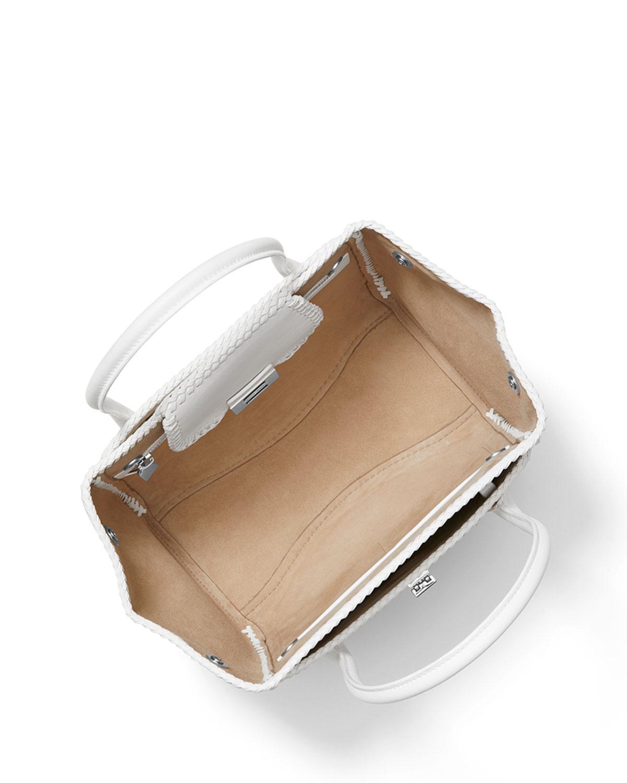 fcf3e08752ed Michael Kors - White Straw And Leather Medium Satchel Bag - Lyst. View  fullscreen
