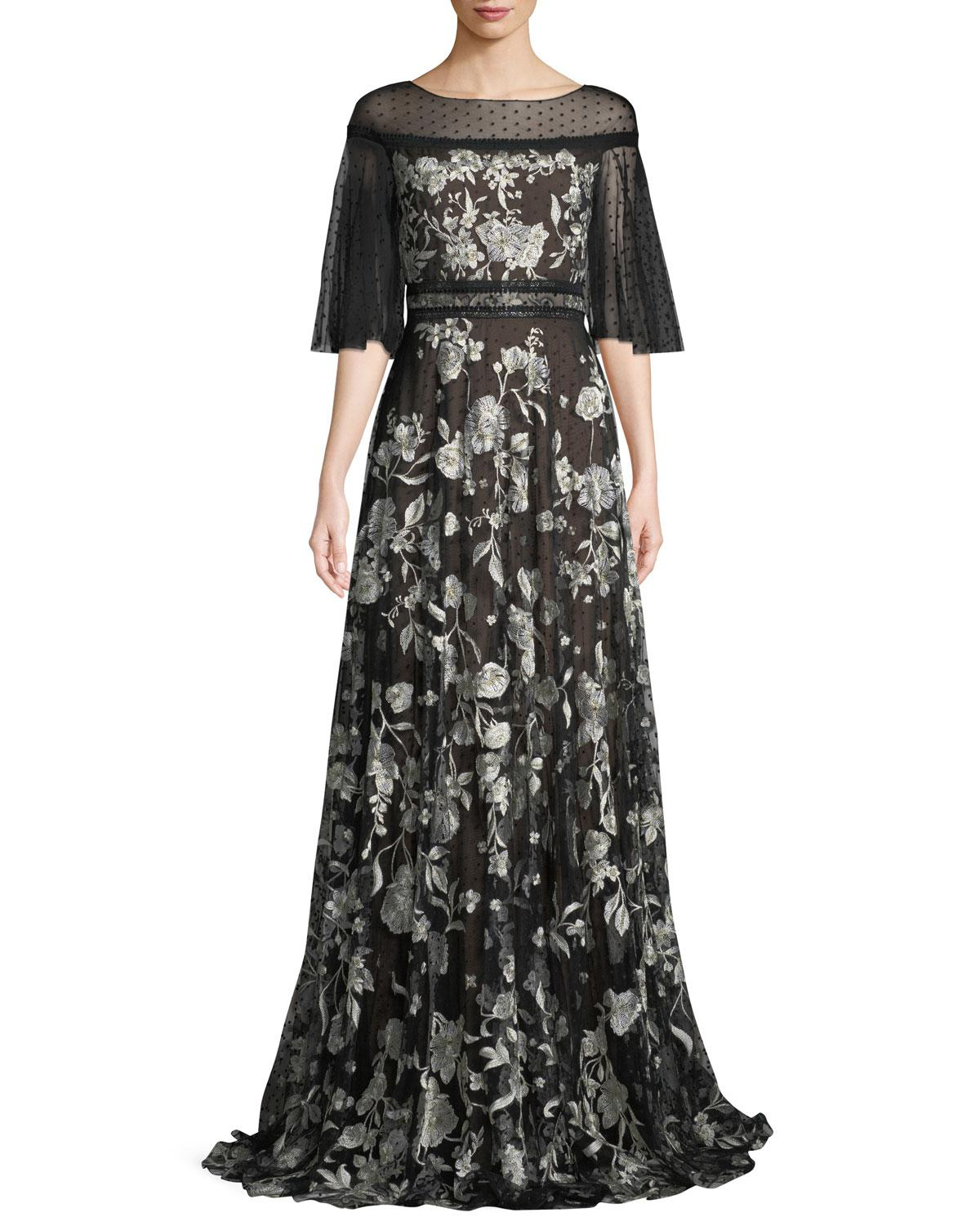 dfa6727f Marchesa notte. Women's Black Flutter-sleeve Floral Embroidered Flocked Tulle  Gown