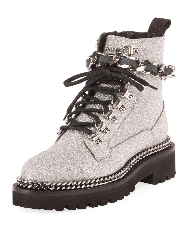 Balmain Leather Army Glitter And Chain
