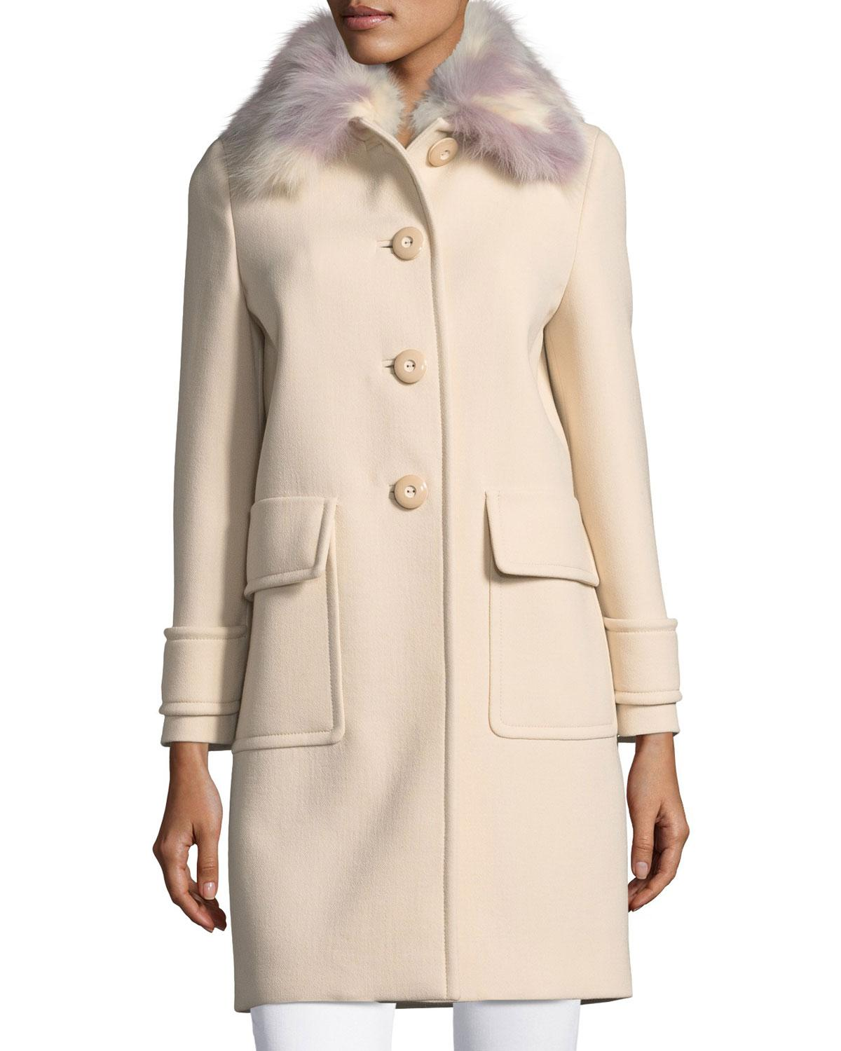 ed4ff0d85a24 Miu Miu Button-front Cashmere Coat With Fur Collar in Pink - Lyst