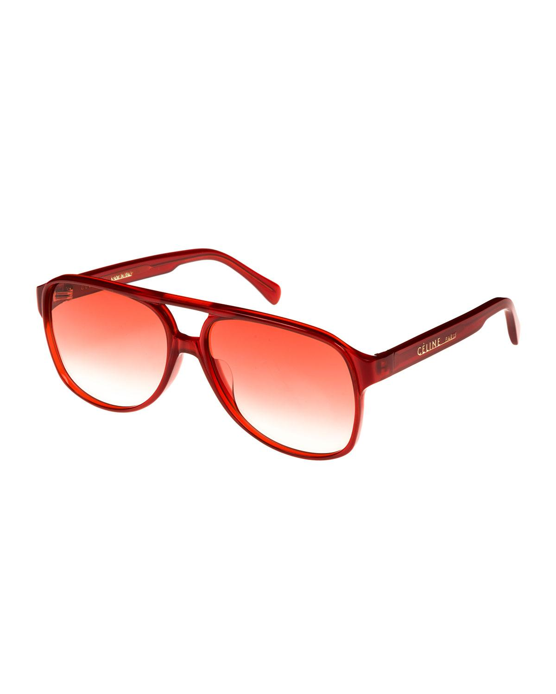 309532ae72c Lyst - Céline Gradient Acetate Aviator Sunglasses in Red