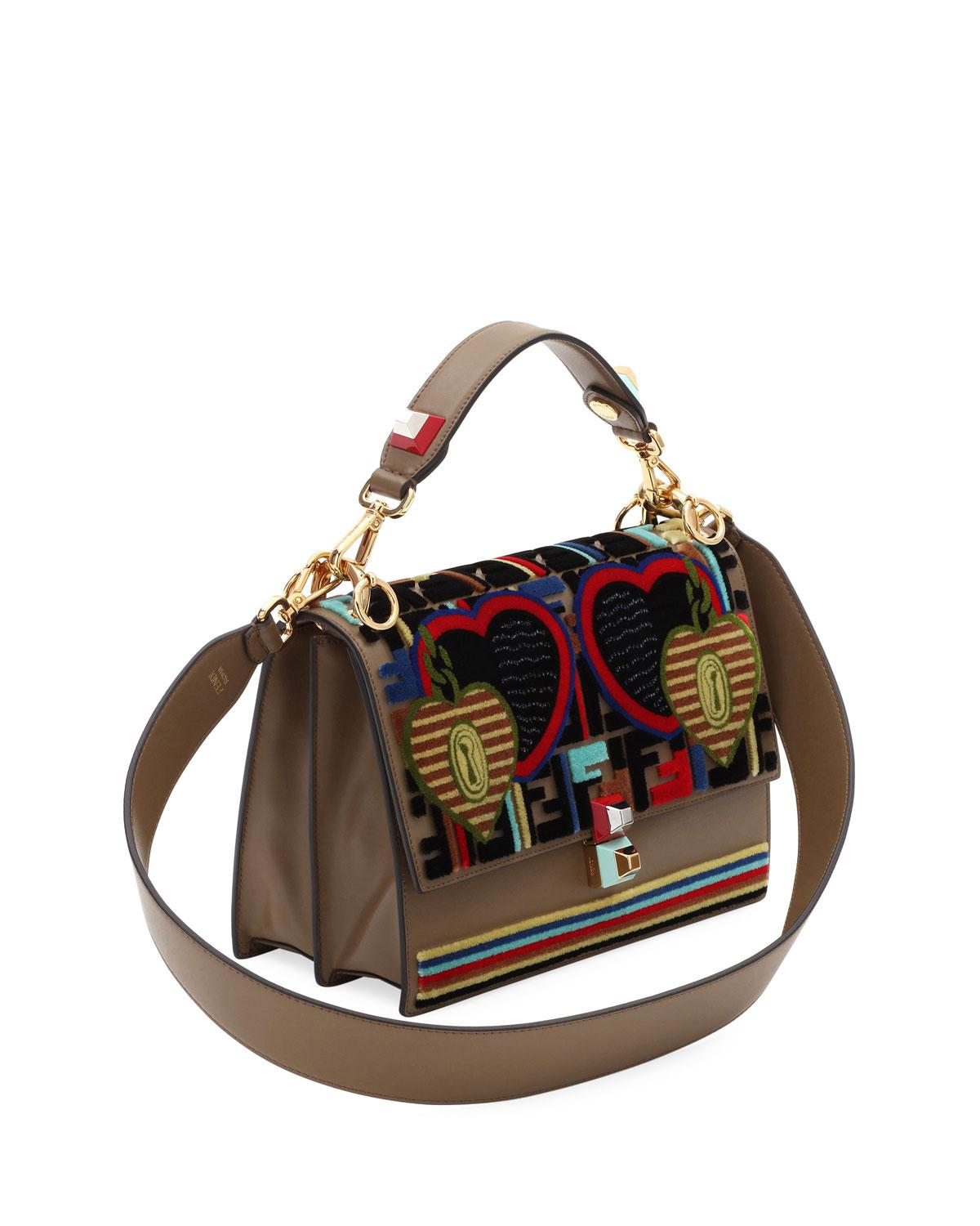 63287ab6343a Fendi Embroidery Tappetino Kan I Shoulder Bag in Brown - Lyst