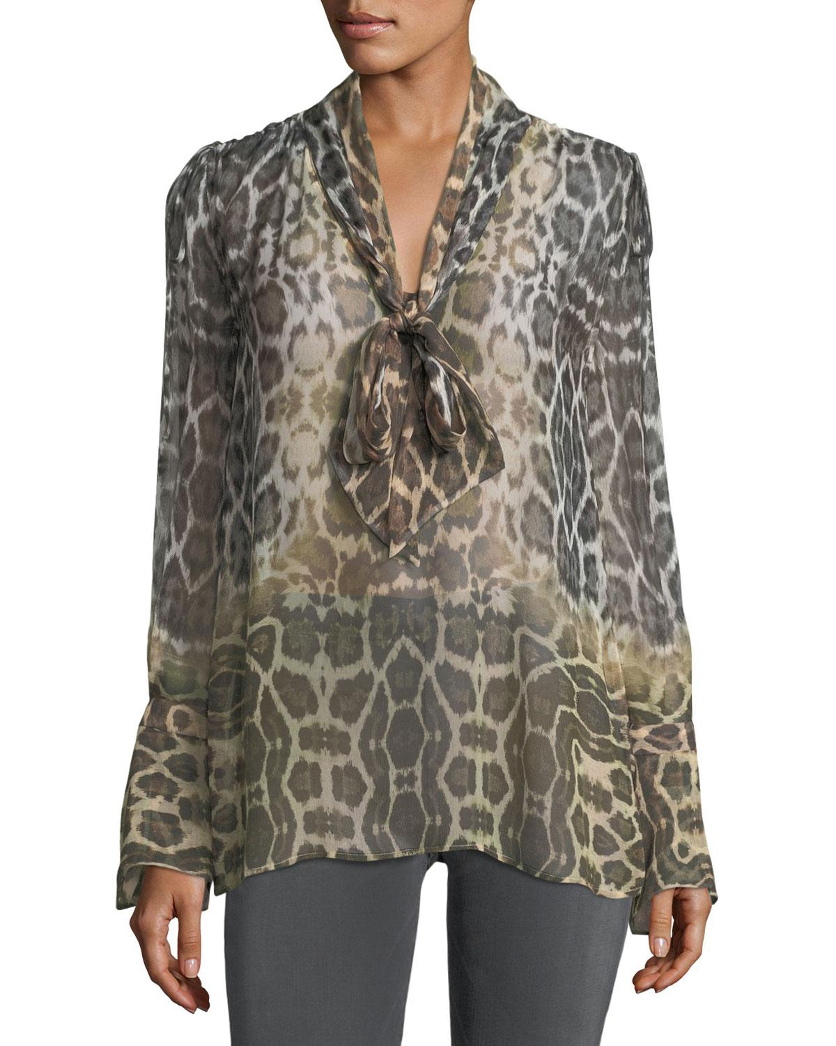 3eb572bf1ee Equipment. Women s Jacqueleen Tie-neck Long-sleeve Leopard-print Chiffon  Blouse