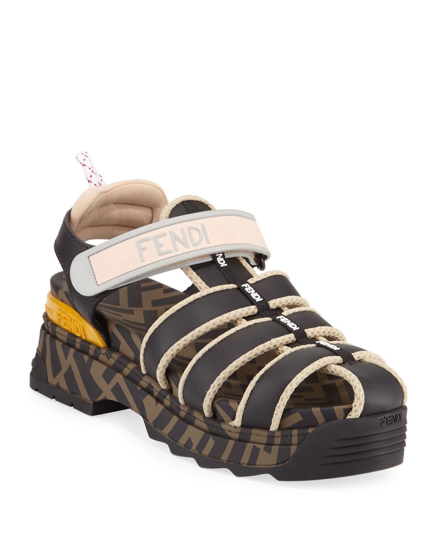 Fendi Leather T-rex Sandals - Lyst