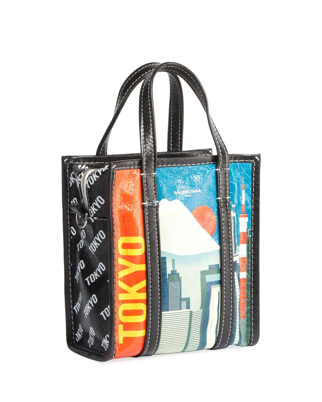 aee3b720a8 Balenciaga Bazar Shopper Extra-small Tokyo-print Tote Bag in Blue - Lyst