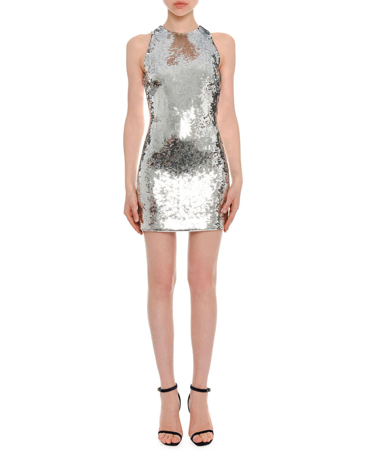5ead18421f3 Versace High-neck Sleeveless Sequined Mini Cocktail Dress in ...