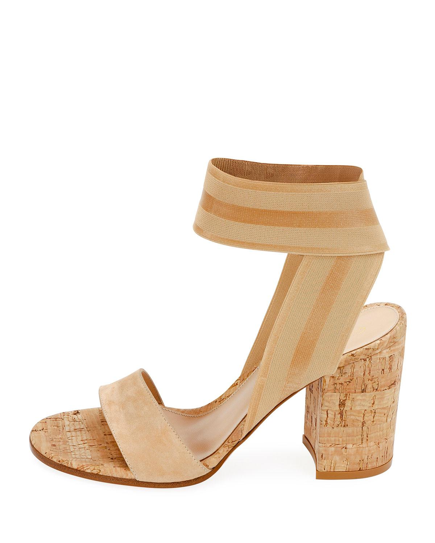 cc2338e5f75 Lyst - Gianvito Rossi Stretch-strap Cork Sandals in Black