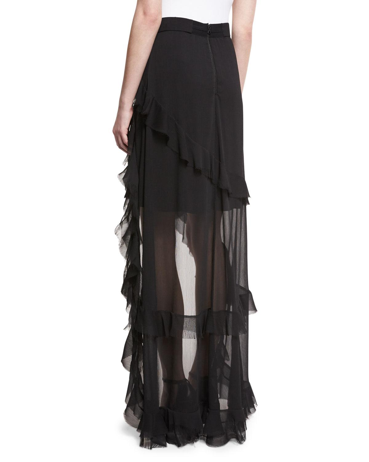 aee35226d4 Alice + Olivia Lavera Layered Ruffle High-low Maxi Skirt in Black - Lyst