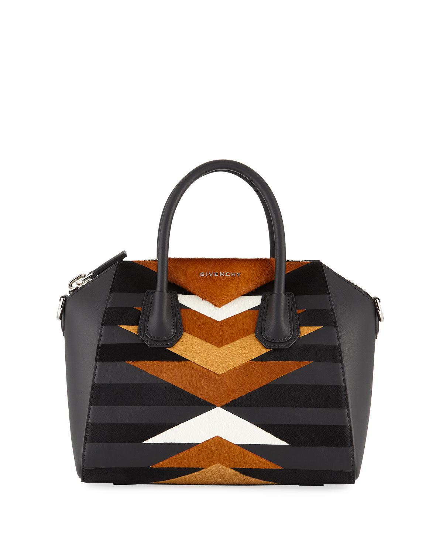 dbb35faac4f Givenchy Antigona Small Leather & Calf Hair Patchwork Satchel Bag in ...