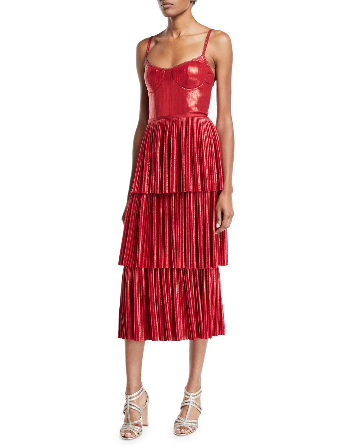 6adc7450787 Marchesa notte - Pleated Lame Tiered Cocktail Dress W  Metallic Trims -  Lyst. View fullscreen