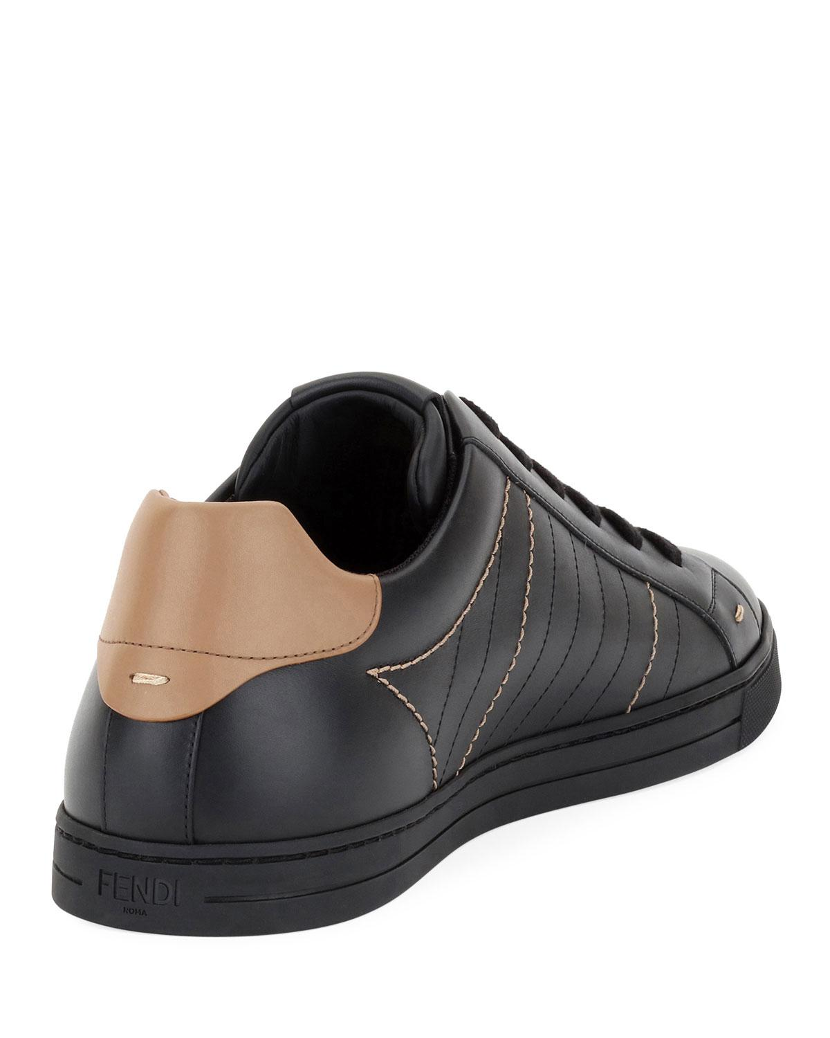 2a64cc85 Fendi Black Men's Ff Embroidered Leather Low-top Sneakers for men