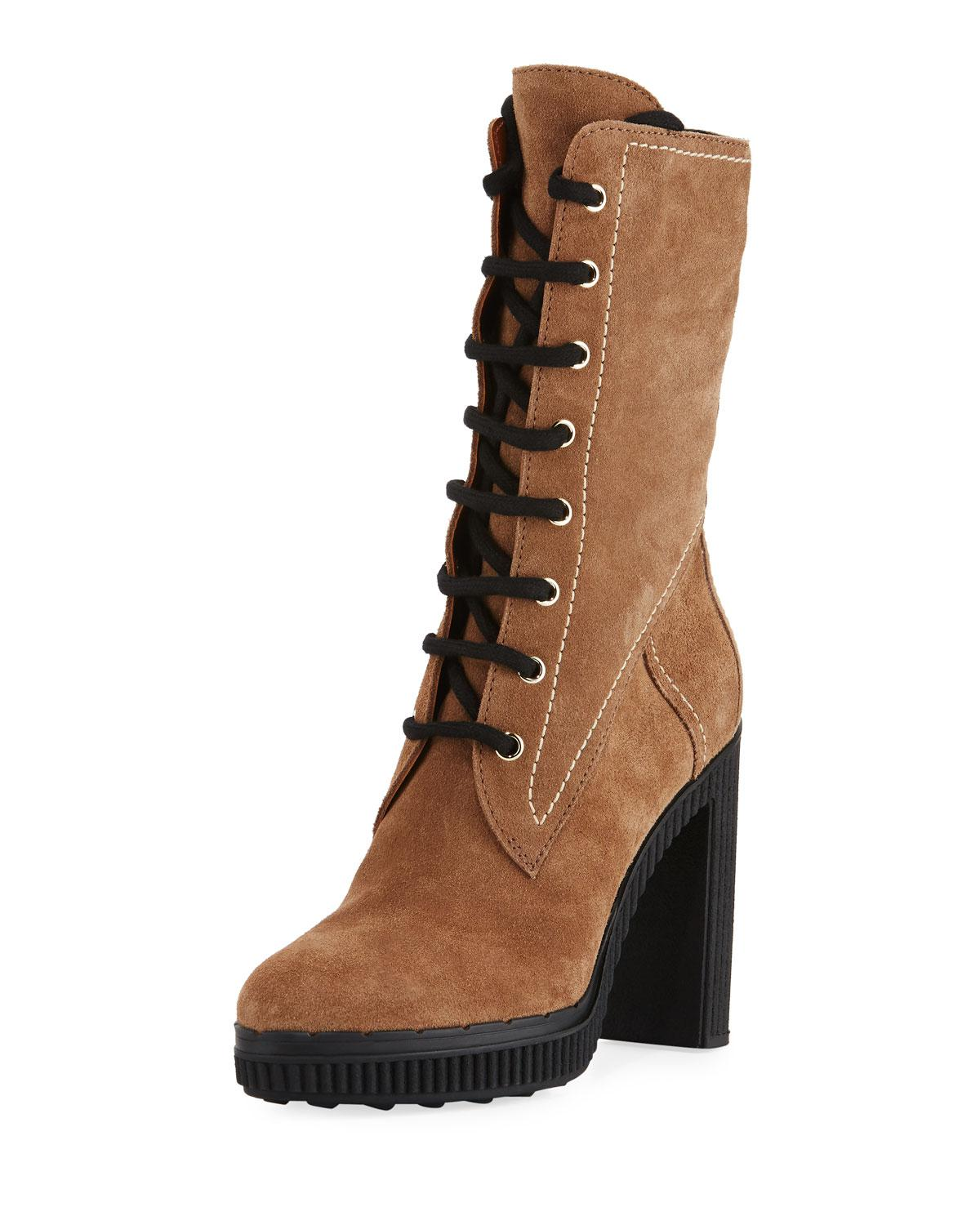 Tod S Lace Up Suede Block Heel Hiking Boot In Brown Lyst