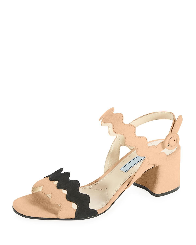 20c17bb5f68 Lyst - Prada Scalloped Suede Block-heel Sandal in Natural