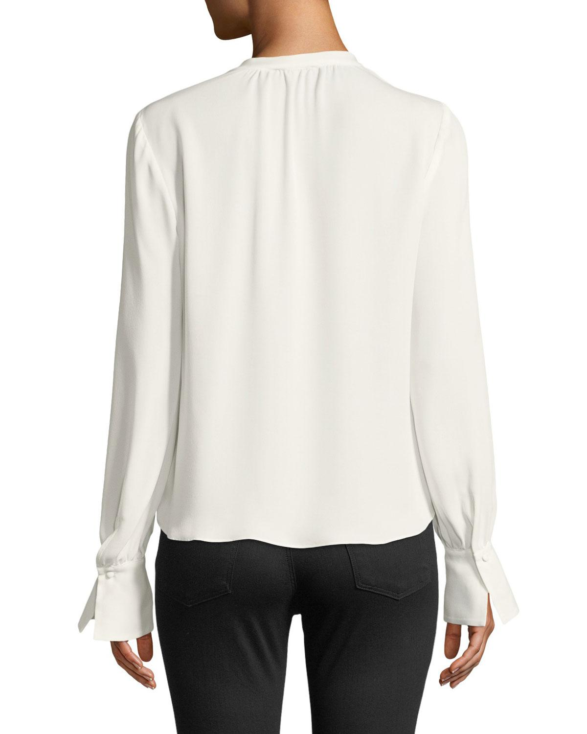 062c0caebbf47 Lyst - Joie Tariana Button-front Long-sleeve Silk Blouse in White