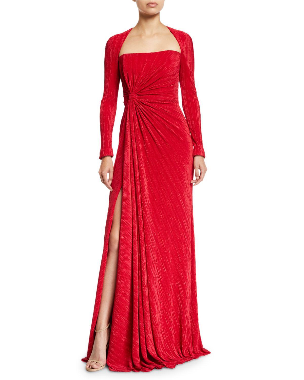 da0fe78644c Badgley Mischka Fortuni Knotted Long-sleeve Drape Dress in Red - Lyst
