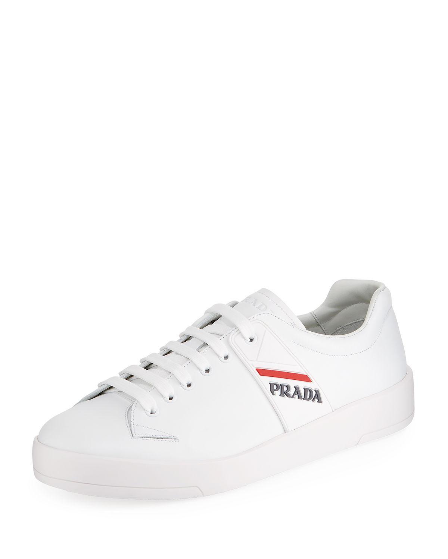 prada vitello plume leather sneakers