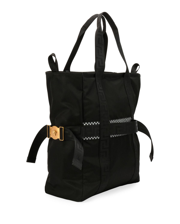 3277b92874ef Versace Men s Greek Chain Nylon Tote Bag in Black for Men - Lyst