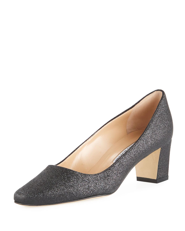 d7e4d40b2a9 Lyst - Manolo Blahnik Okkato Block-heel Glitter Pump in Black