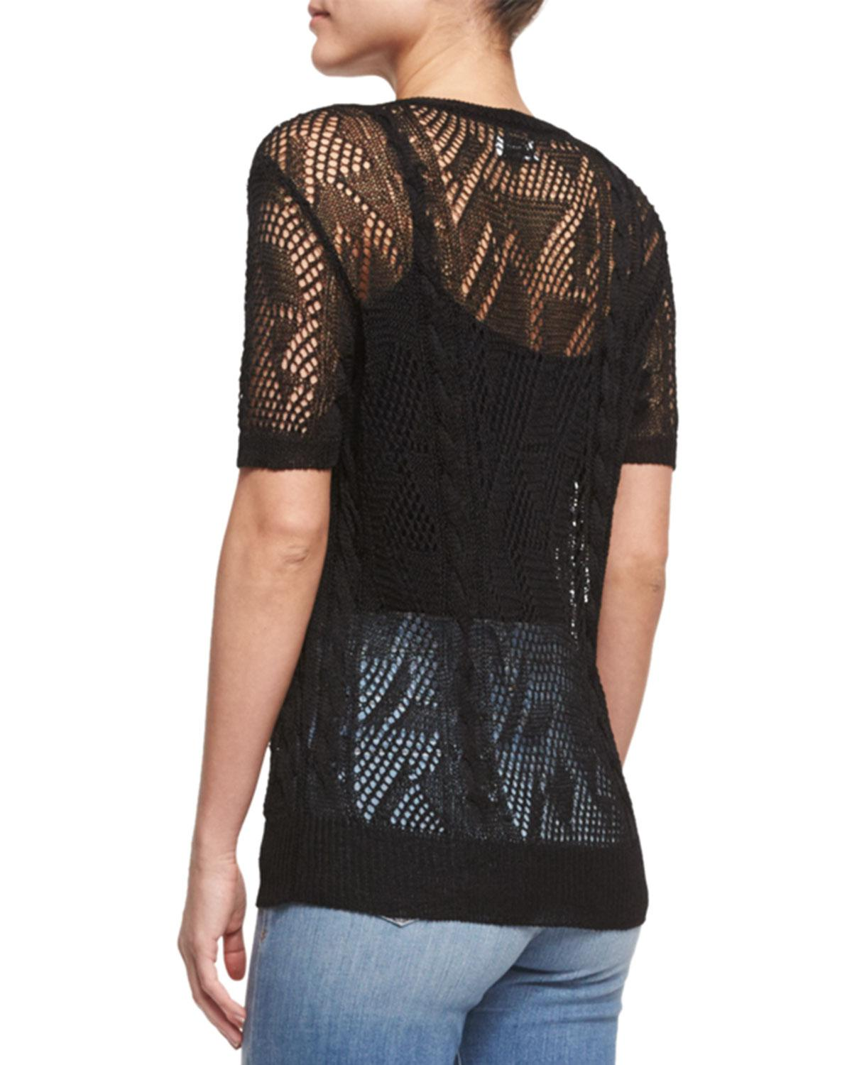 Frame Cropped Short-sleeve Sweater in Black   Lyst