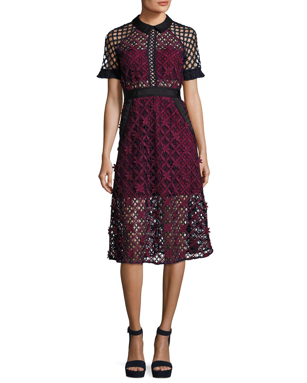 lyst self portrait floral grid midi dress in purple. Black Bedroom Furniture Sets. Home Design Ideas
