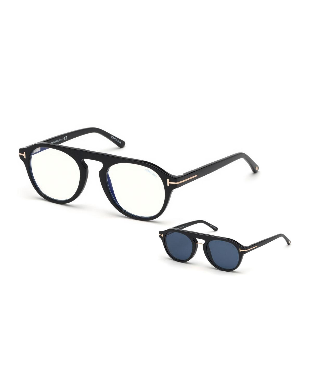0a52185778 Tom Ford. Black Men s Round Optical Glasses W  Magnetic Clip On Blue-block  Shade