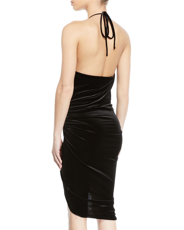 eb988ccbcd Lyst - Alexandre Vauthier Ruched V-neck Velvet Halter Dress in Black