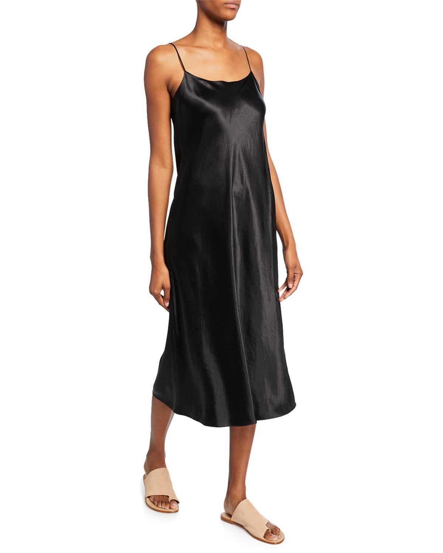 Vince Satin Slip Dress In Black Lyst