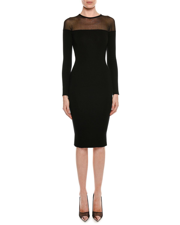518dadd610a Tom Ford. Women s Black Round-neck Illusion-yoke Silk Knit Cocktail Dress