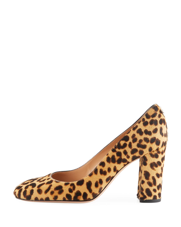 f4c6e0f9850a Lyst - Gianvito Rossi Square-toe Leopard-print Fur Pumps
