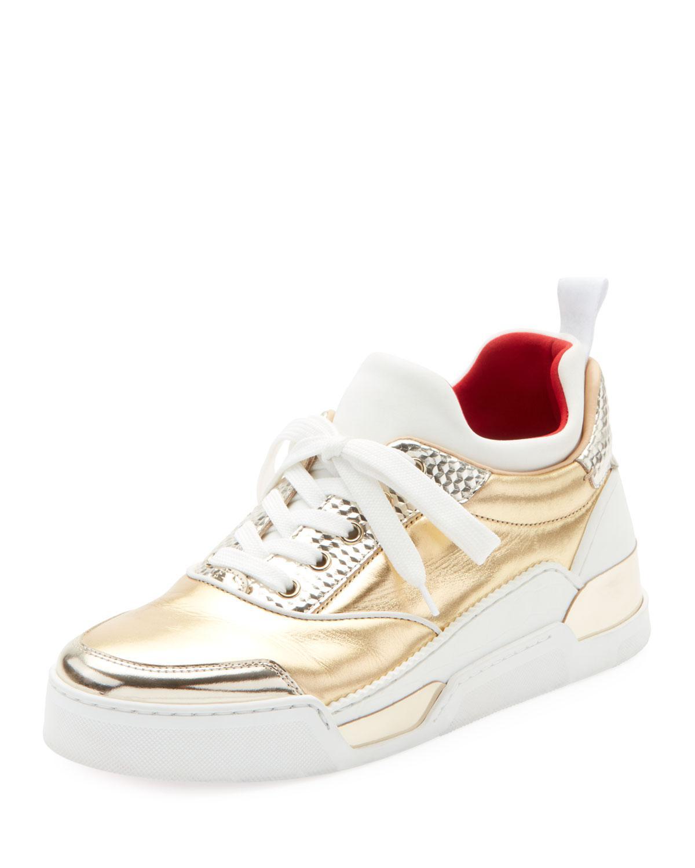 f5a1c6df65b9 Christian Louboutin. White Aurelien Women s Multimedia Metallic Low-top  Sneakers