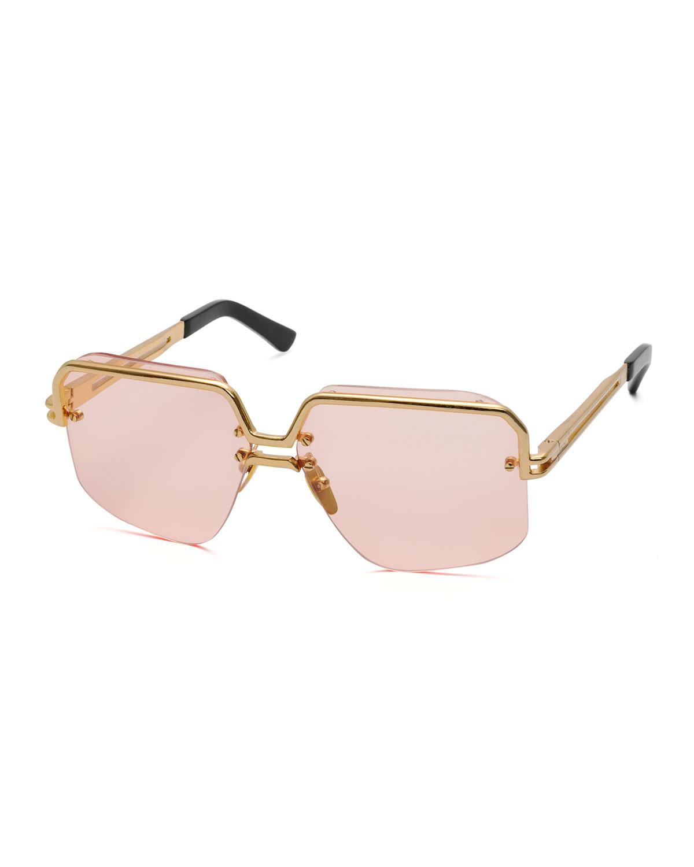 f5fb9128044 Lyst - Céline Rectangle Semi-rimless Metal Sunglasses in Pink
